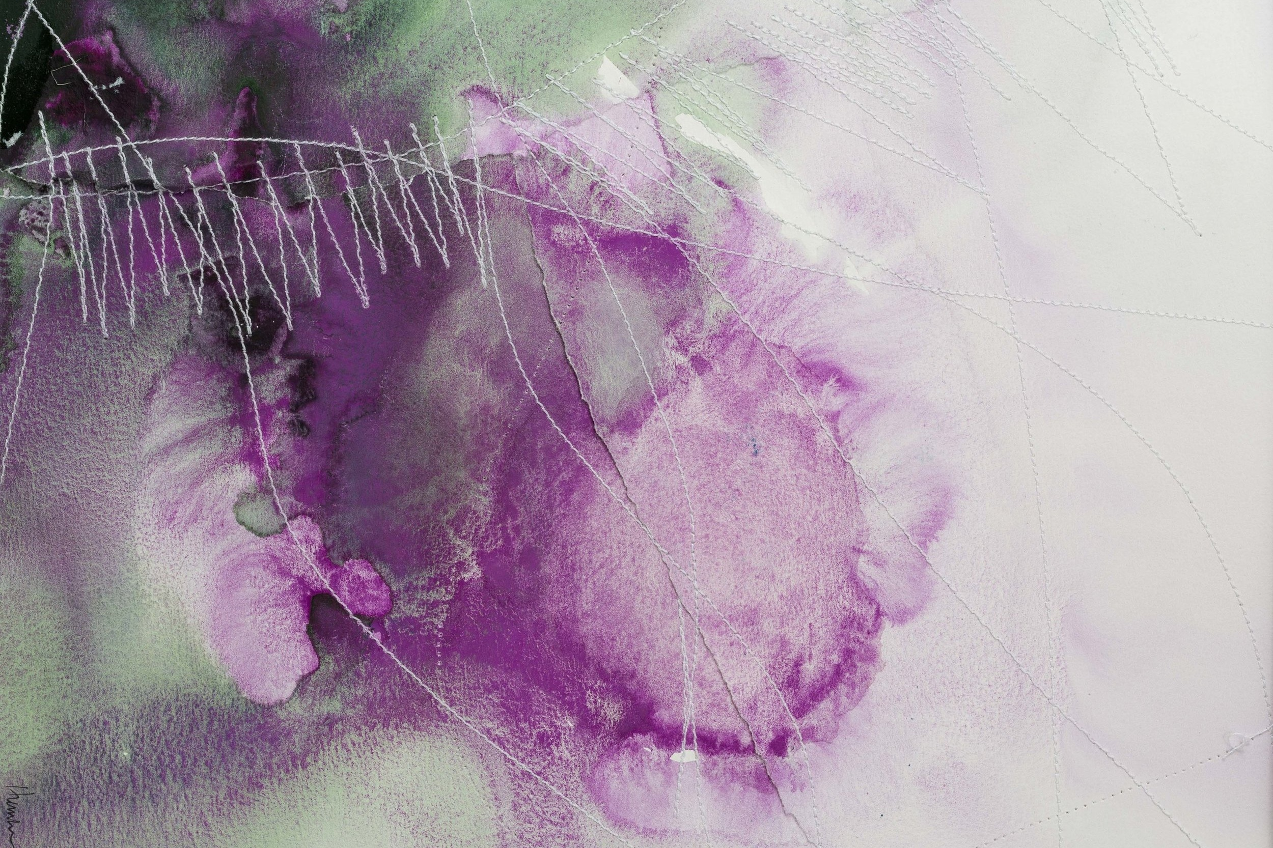 Watercolour Painting with Thread