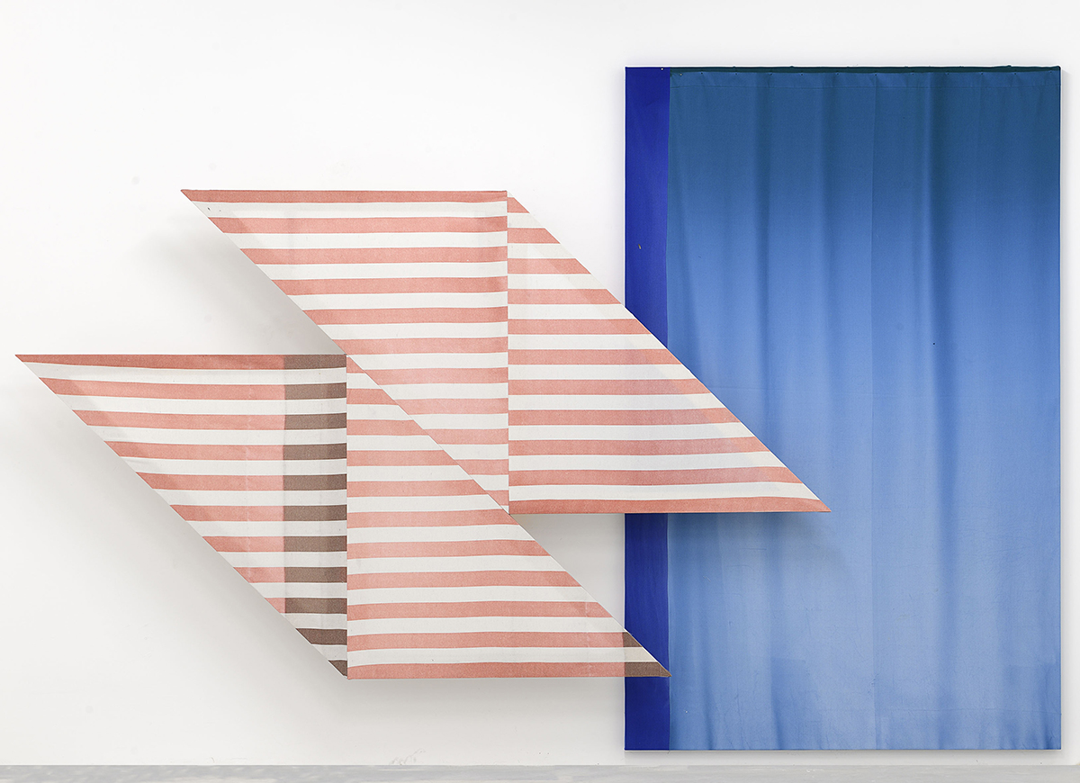 Tangram , 2014, Stretched fabric from curtains, h 160 x w 270   Oltrepò Pavese , 2014, Stretched fabric from curtains, h 233 x w 150
