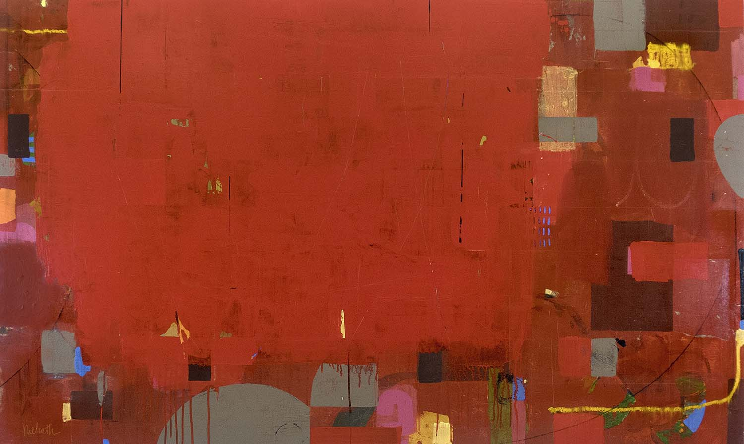 Seeing Red ~ 36x60 inches; mixed media on panel
