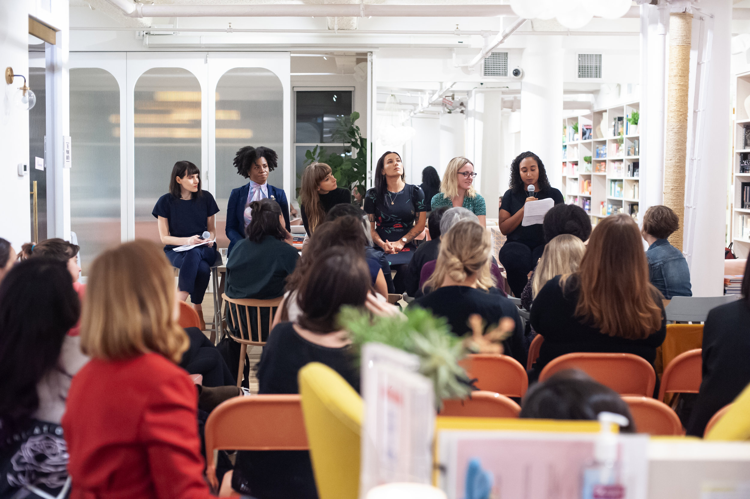 From Left: Natalka Burian, Freya Project co-founder, and readers Crystal McCreary, Hermione Hoby, Melissa Febos, Michele Filgate, and Naima Coster. Photo by Keira Chang.