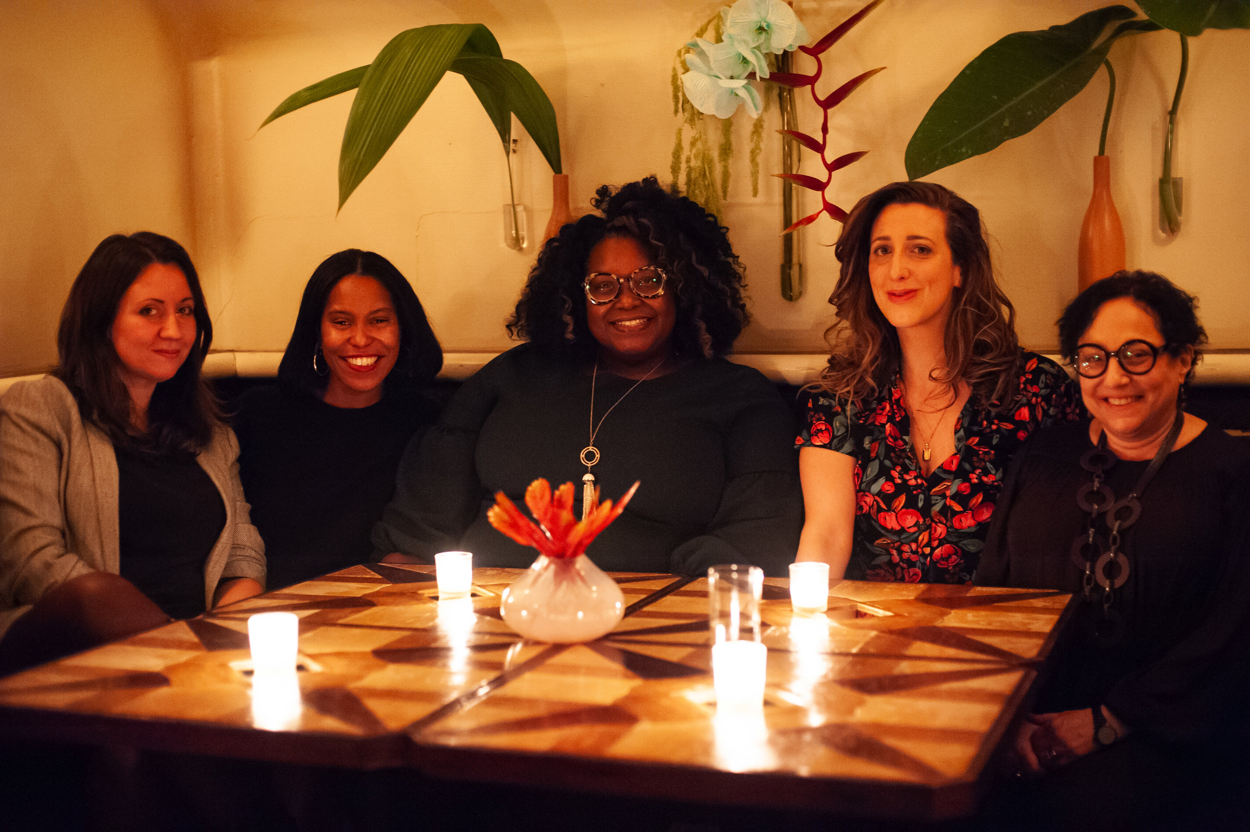 Freya Project Readers Raluca Albu, Camille Drummond, Joi Chaney, Jolenta Greenberg, and Lenora Lapidus