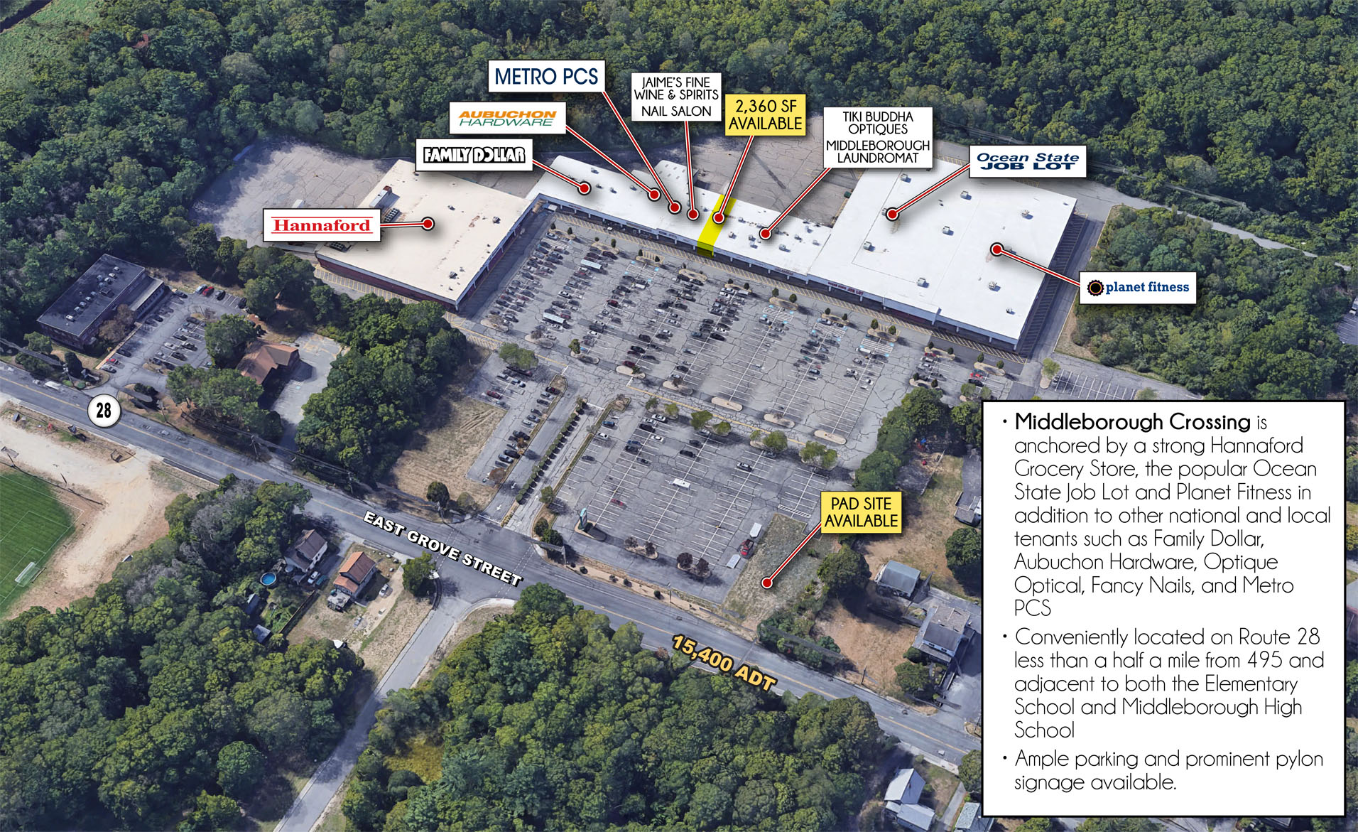 Location: Middleborough, Massachusetts Size: +/-2,360 SF Plus Pad Site Available at Entrance