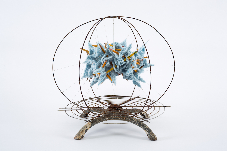 Blue Jay, 2018 - Yarn, metal, pencils