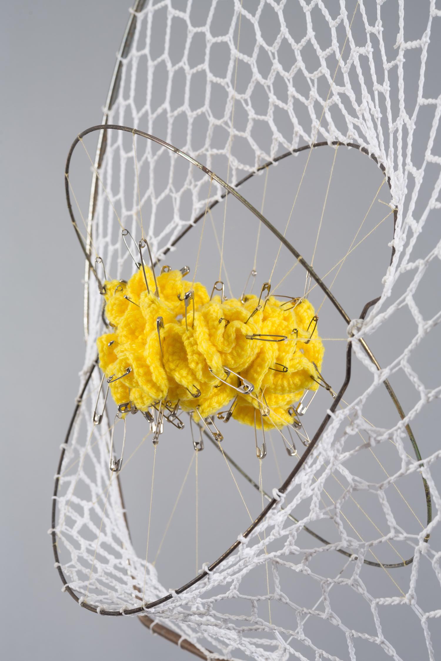 Canary, 2017 - Yarn, metal, safety pins