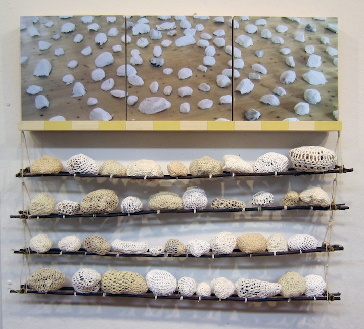 Photo triptych, crocheted stones, twigs, twine, wood, paint. 2 of 6 panels. 2015.