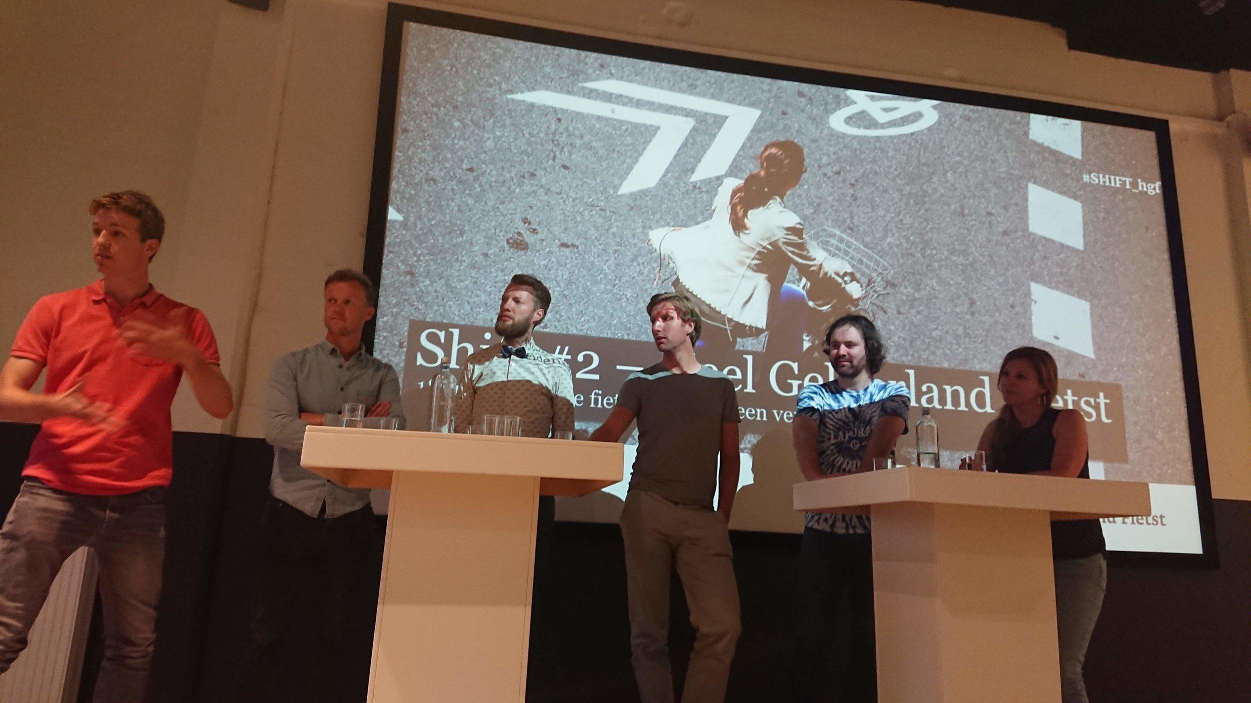 V.l.n.r. Jilt van Schayik (Biky), Teun Meulepas (Biky), Bram Witvliet (Bram Fietst), Marco te Brömmelstroet (UvA), Pepijn (Hét Bakkerscafé), Eva Walraven (Hét Bakkerscafé)