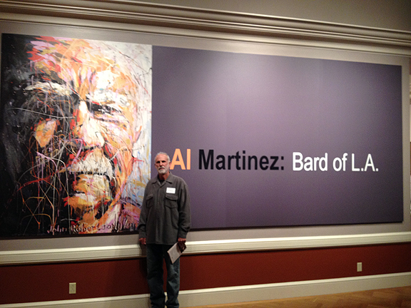 "Artist with portrait of Al Martinez used in conjunction with the Huntington Library exhibition of his archived papers at the library.  The painting was also used to for the cover of his book,  ""Reflections: Columns from The Los Angeles Times"""