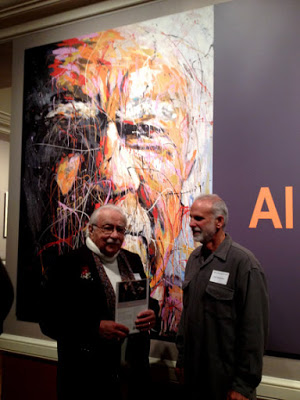 """The photograph is of Al Martinez and the painting John Robertson created and was used at the Huntington Library exhibit examining the six-decade-long career of Pulitzer Prize–winning journalist Martinez.It was showcased in an exhibition that looked back at how the writer has chronicled the foibles, peccadilloes, accomplishments,and, sometimes, sad plights of those around him. """"  Al Martinez:Bard of L.A.,"""" on view in the Library, West Hall, at The Huntington Library, Art Collections, and Botanical Gardens.  The painting was also use as the cover for the Al Martinez book   """"Reflections: Columns from The Los Angeles Times."""""""