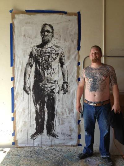 Figurative painting of Jason, Tattoo Artist