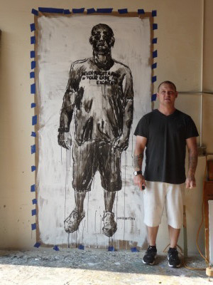 Large scale figurative painting Shawn Cabinet maker Contracter