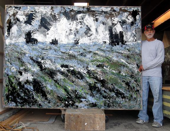 Seascape tide pools Bailard Beach Carpinteria, Ca 6 feet by 8 feet, acrylic on unstretched canvas
