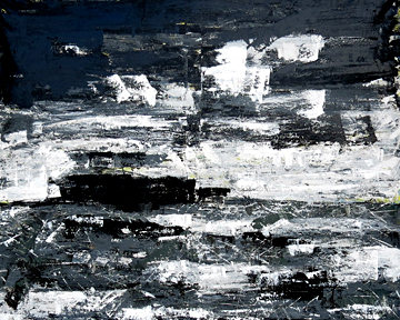 Abstract seascape painting looking oput towards the Channel Islands where bigf oil platforms rest 4 feet by 5 feet, axcrylic on unstretched canvas