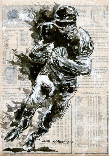 Football painting Gail Sayers running back Chicago Bears art.jpg