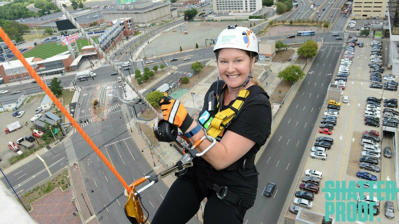 Hi, from 21 stories up! In this adventure, I rappelled down a building to raise money for charity. Check out  Shatterproof .