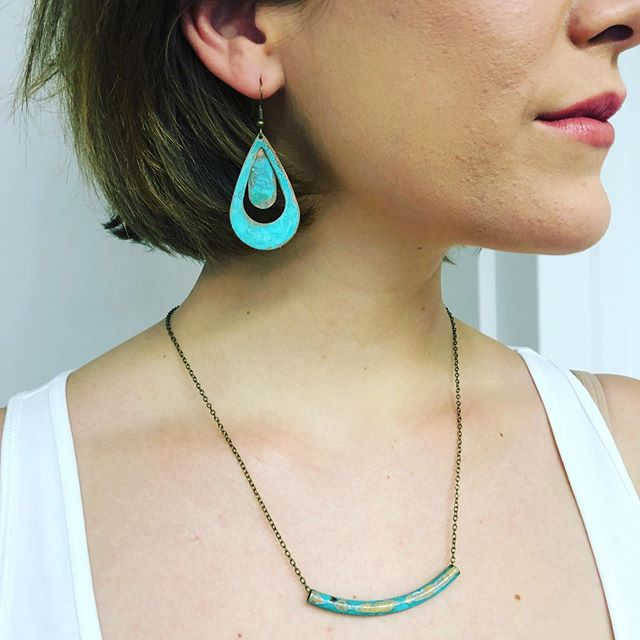 Spring necklines deserve some fresh new jewelry. Thanks @cullinmcgree for modeling!  #shoplocal #shopsmall #studiofashion #brookline #coolidgecorner #jewels #necklace #earrings