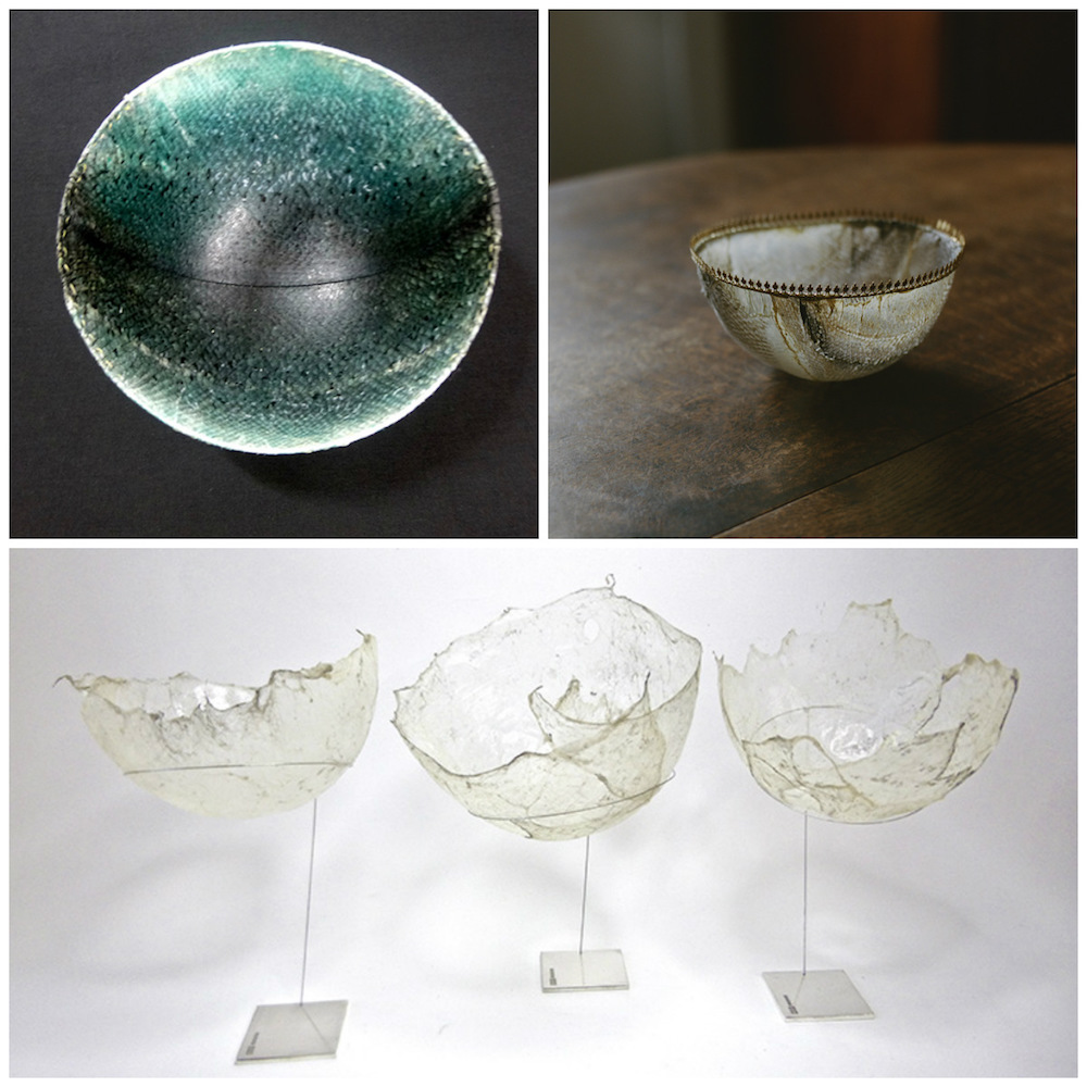 Clockwise from top left: Oil tanned and dyed salmon, Ghost Fishing, salmon tissue bowls