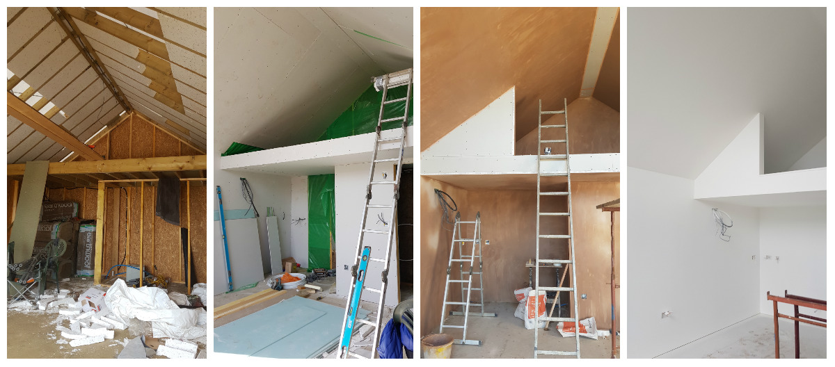 L-R: Insulating the walls and roof; plasterboard; plaster and storage sections on the mezzanine; paint!