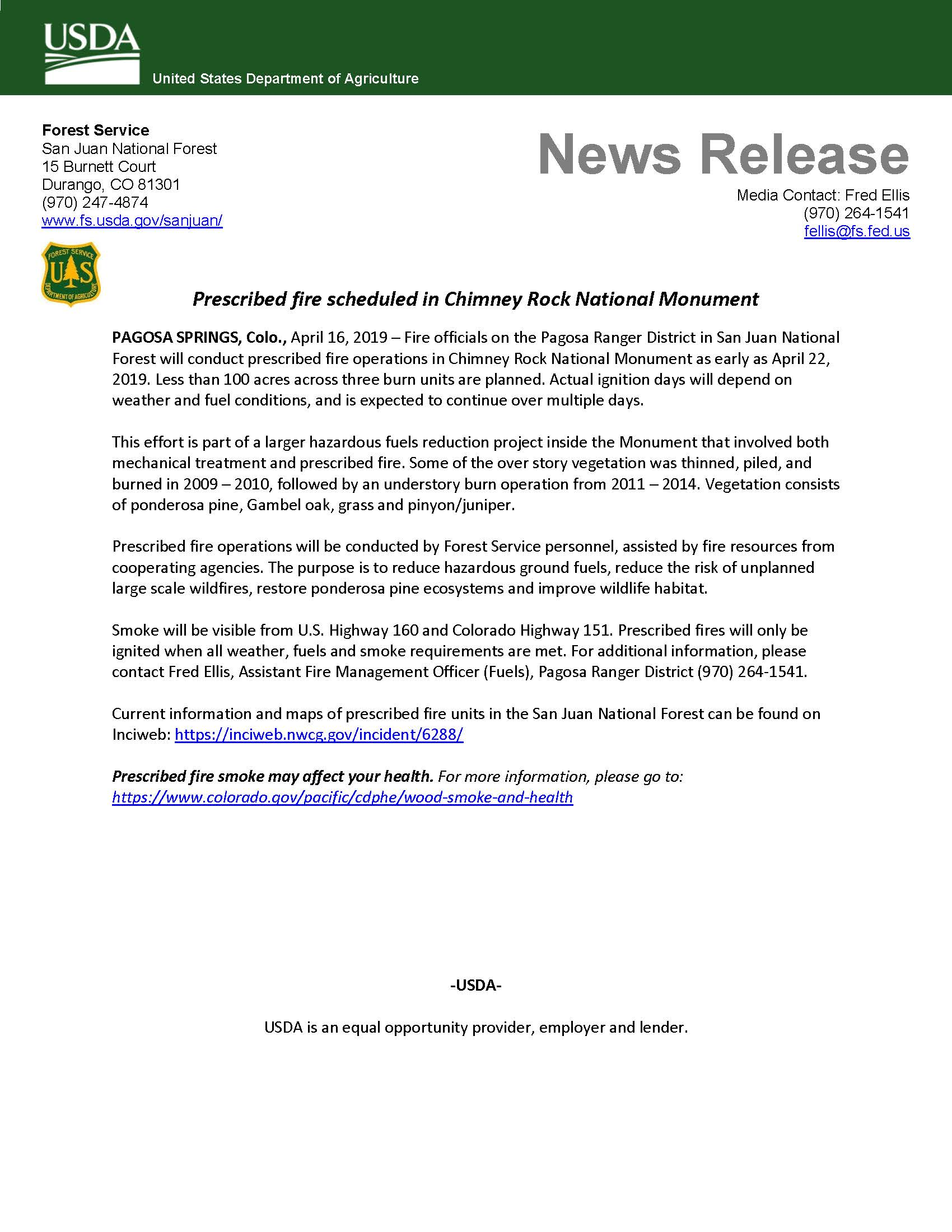 Prescribed Fire Operations in Chimney Rock National Monument