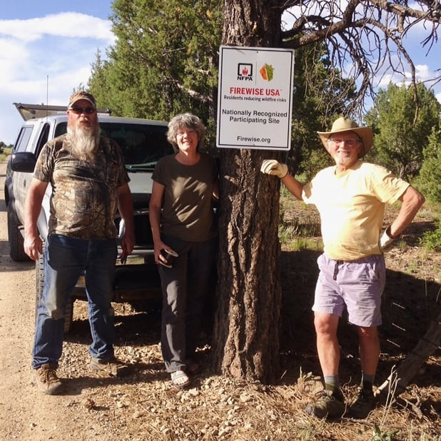 North Mancos POA posted their Firewise USA sign over the weekend - and we are incredibly proud of their hard work in earning this national recognition. A special thank you to Ruth Ann Thompson, who shared this photo of Weston Thompson, Diane Bush and Dan Miller.  Note: No ponderosas were harmed during the sign installation 👍
