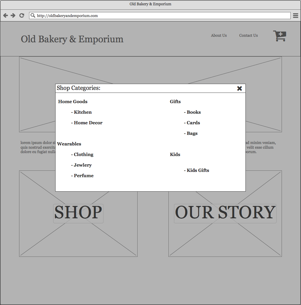 Early design that did not flow well with the rest of the project. (At the time, my justification for this design relied primarily on my novice status as a Balsamiq user.)