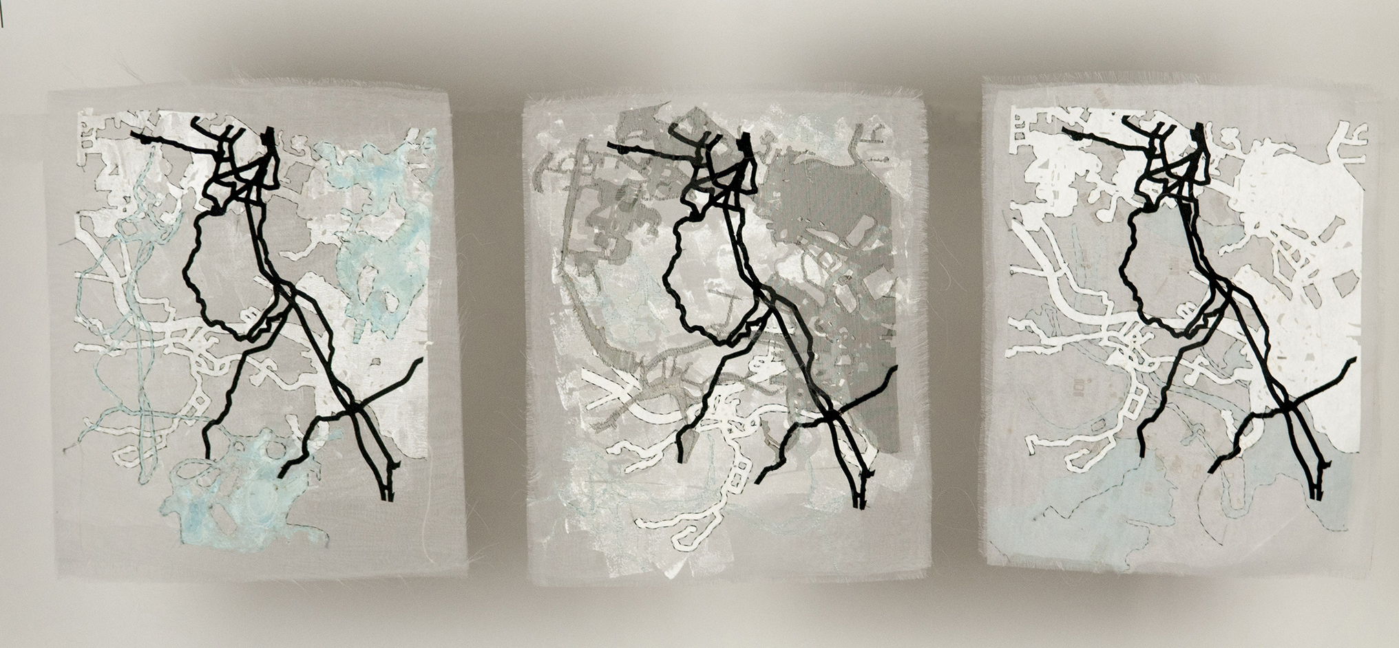 "Map Fragments – Triptych, Each is 9"" w x 11"" tall  2018"