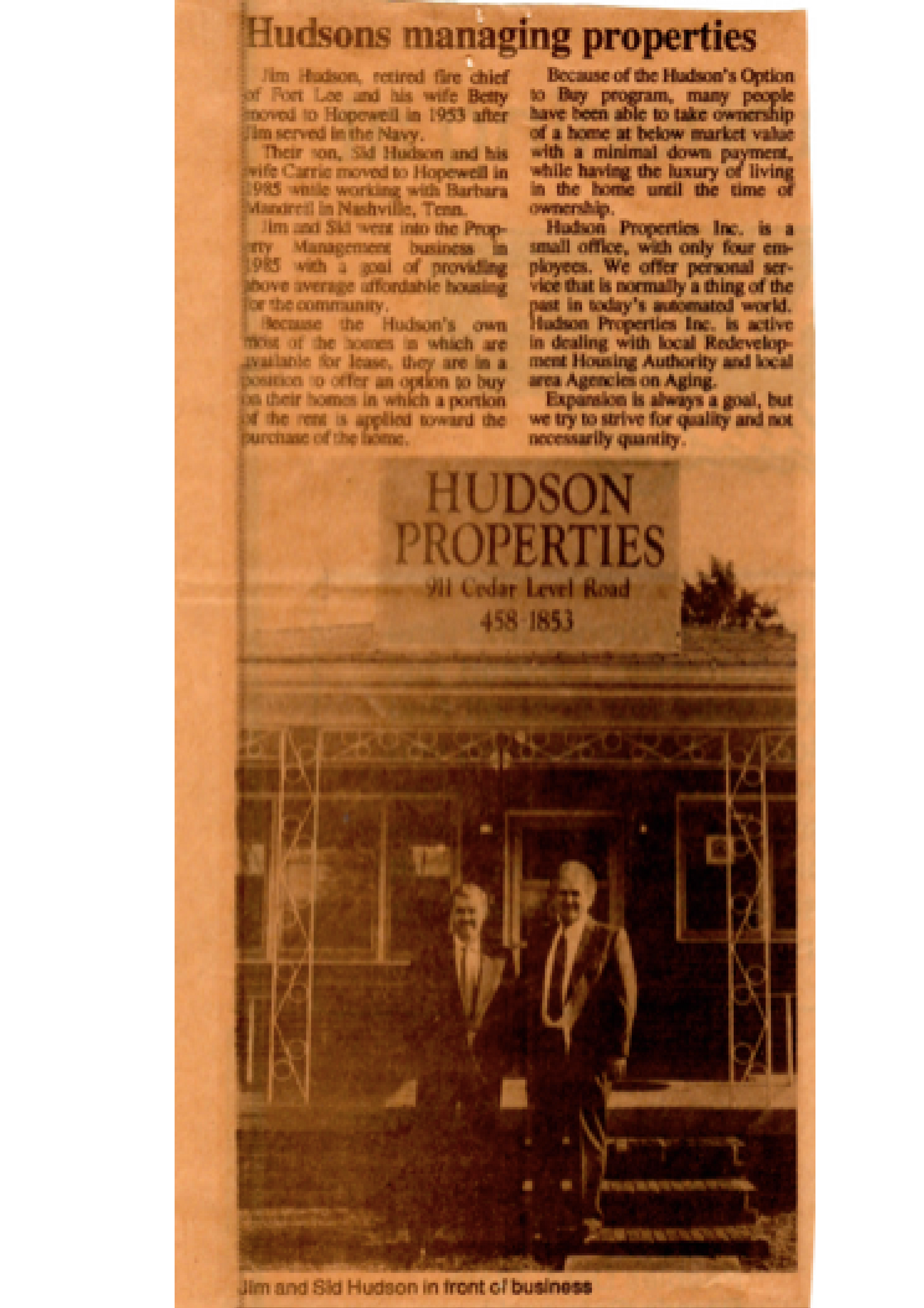 Original Hopewell Times article when Jim and Sid Hudson opened Hudson Properties in 1985.