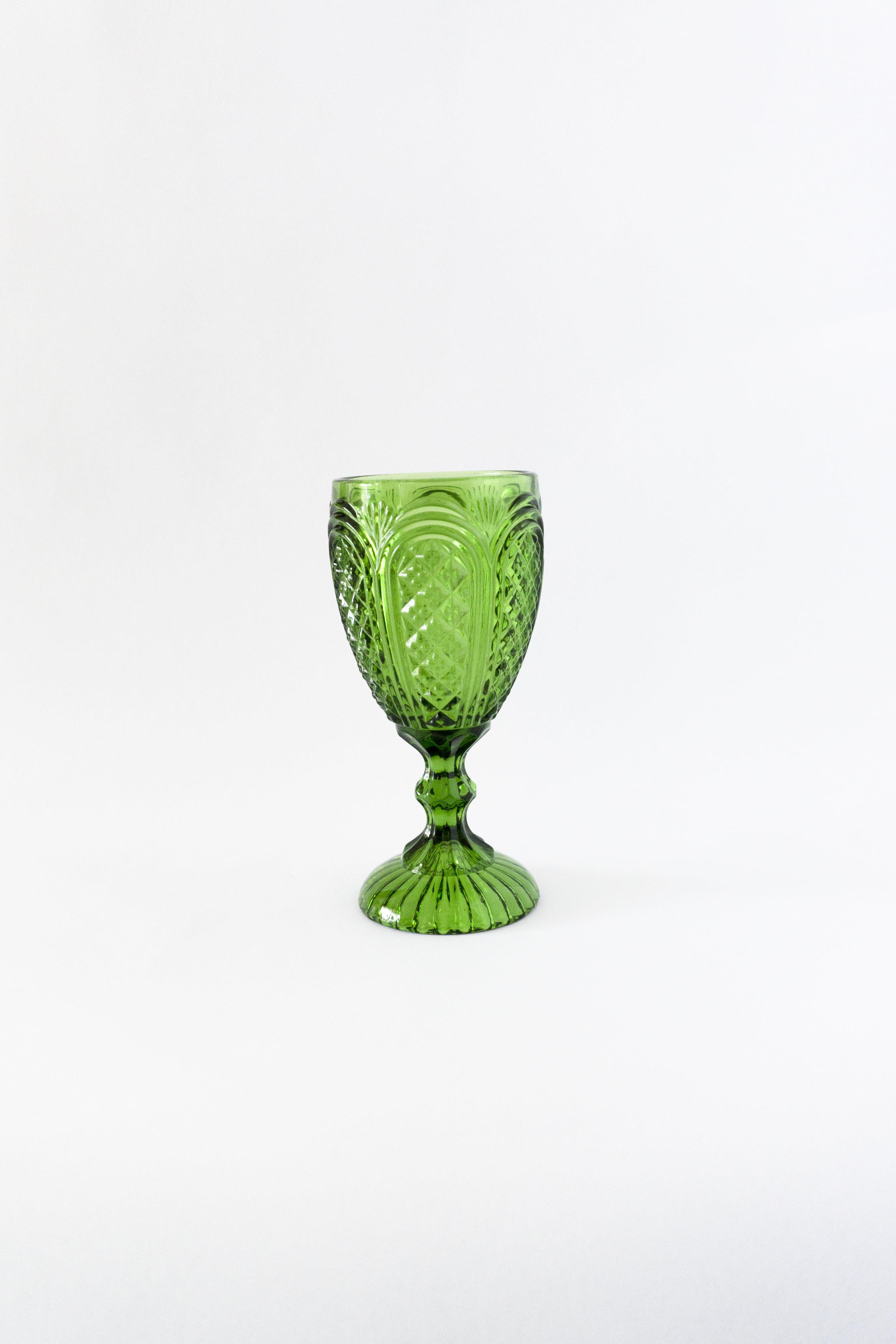 Green Carousel Goblet  11oz