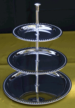 "Stainless Tiered Server Tray  (8"", 10"", 12"")  $20.00"