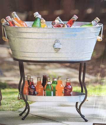 """Galvanized Drink Tub w/Stand  24"""" x 16"""" 9""""  $24.95"""