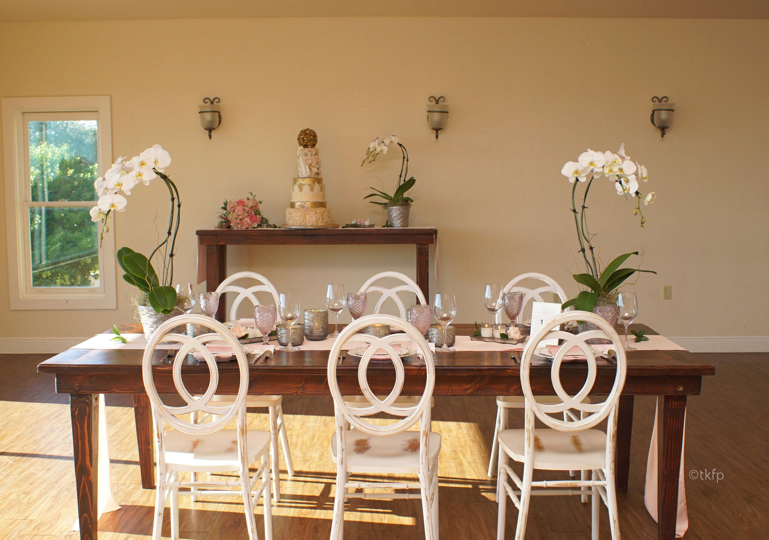 Antique White Chairs with Vineyard table