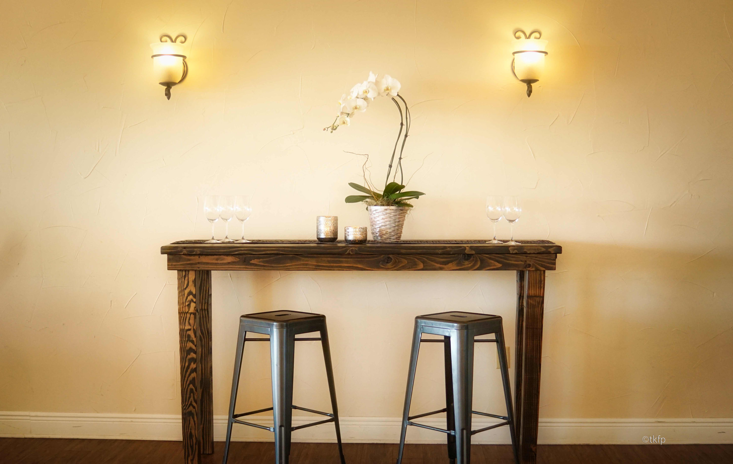 Vineyard Cocktail with Metal Charcoal Bar stool
