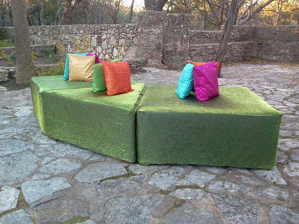 4 ft x 4 ft Square Ottoman and Triangle Ottoman with Throw Pillos