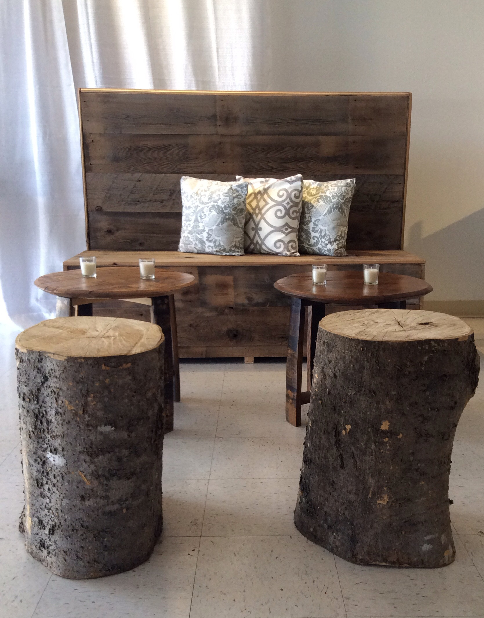 Rustic Bench with Coffee Table and Tree Trunk Seats