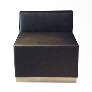 "Black Leather Chair w/ Brushed Steel Base  25"" X 20"" X 26""  $95.00"