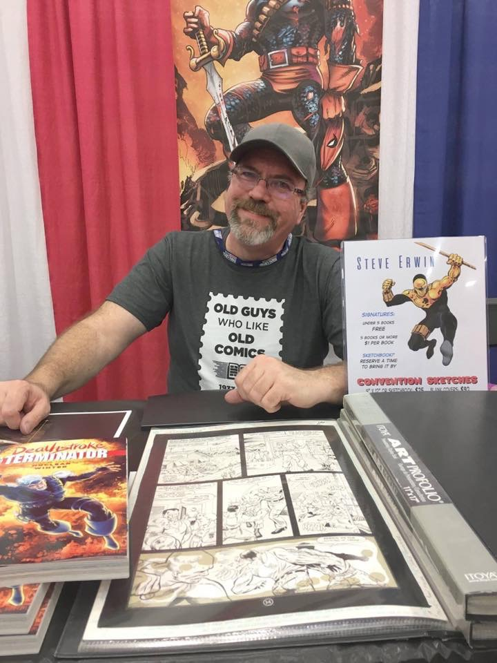 Steve Erwin - STEVE ERWIN began his professional career as a comics artist in the 1980's with First Comics' Grimjack, later working primarily for DC Comics. He co-created two series for DC, Checkmate! and Gunfire, but is most recognized as the artist of Deathstroke: The Terminator in the 1990s. Steve penciled the art for the comics adaptation of Batman Returns and a run of fill-ins on a variety of titles, including New Gods, Hawk & Dove, and Superman - The Man Of Steel.A life-long Star Trek fan, Steve was thrilled to work on various Star Trek titles at DC including Star Trek: The Next Generation - Shadowheart. The pinnacle achievement for this Trekker was pencilling the comic book adaptation of William Shatner's first Star Trek novel, Star Trek: The Ashes of Eden.Combining a fascination for history with a passion for drawing comics, Steve contributed to a line of hardcover historical graphic novels for children. Subjects included The Battle of Gettysburg, The Wright Brothers, and the Lewis & Clark Expedition.Most recently, Steve had the privilege of providing the art for the first graphic novel adaptation of a Robert Heinlein property, Citizen of the Galaxy.Originally from Tulsa, Steve has made his home in Texas since 1982. Steve was honored to be one of the first comics creators to be indoctrinated in the Oklahoma Cartoonists Hall of Fame in Pauls Valley, Oklahoma in 2007.Nowadays, Steve works as a product designer and illustrator for the company made famous by Big Mouth Billy Bass.