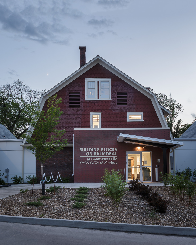 Great West Life Daycare, exterior photo of back entrance at dusk / Photo:  Lindsay Reid