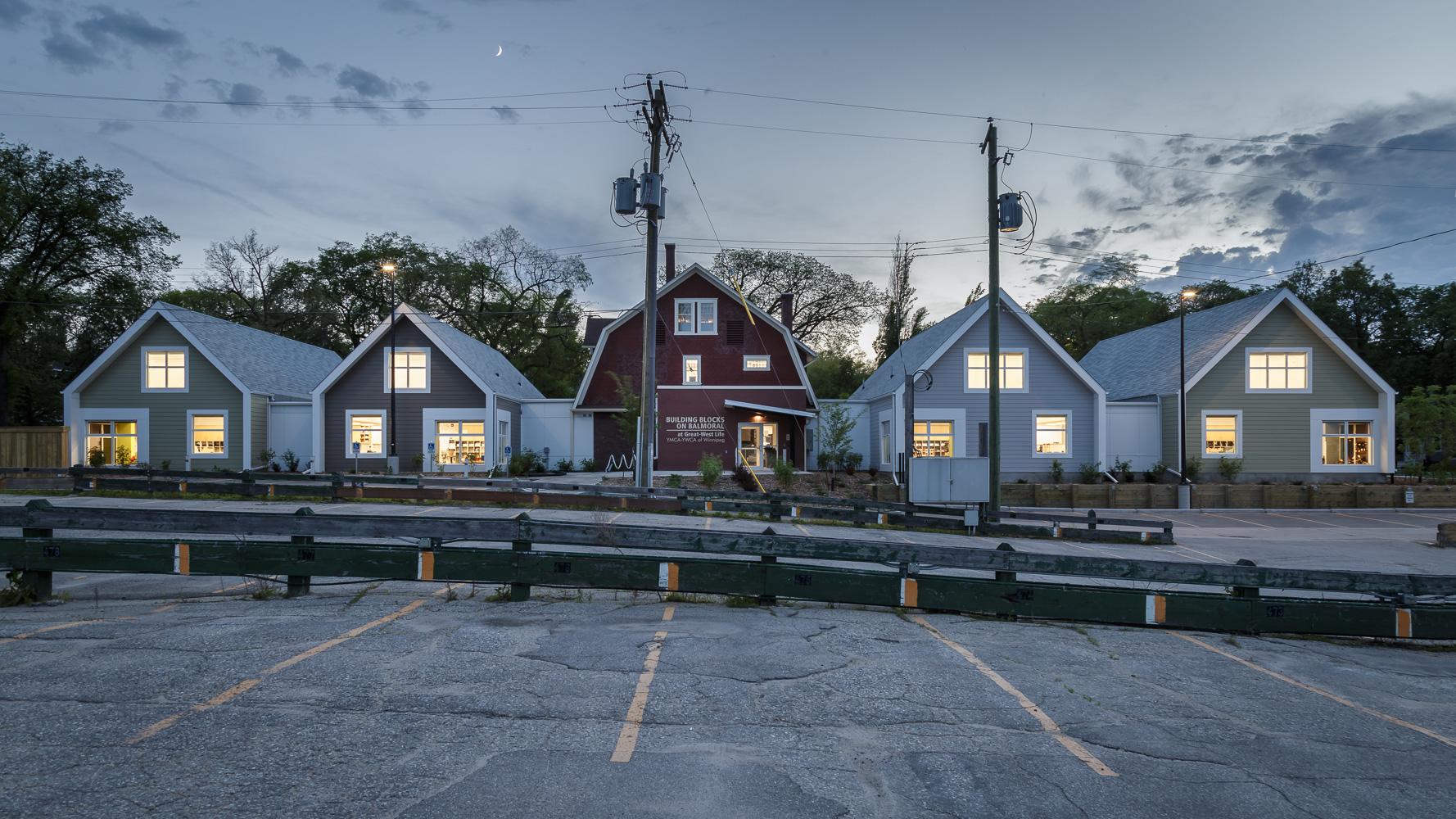 Great West Life Daycare, exterior photo of back elevation at dusk / Photo:  Lindsay Reid