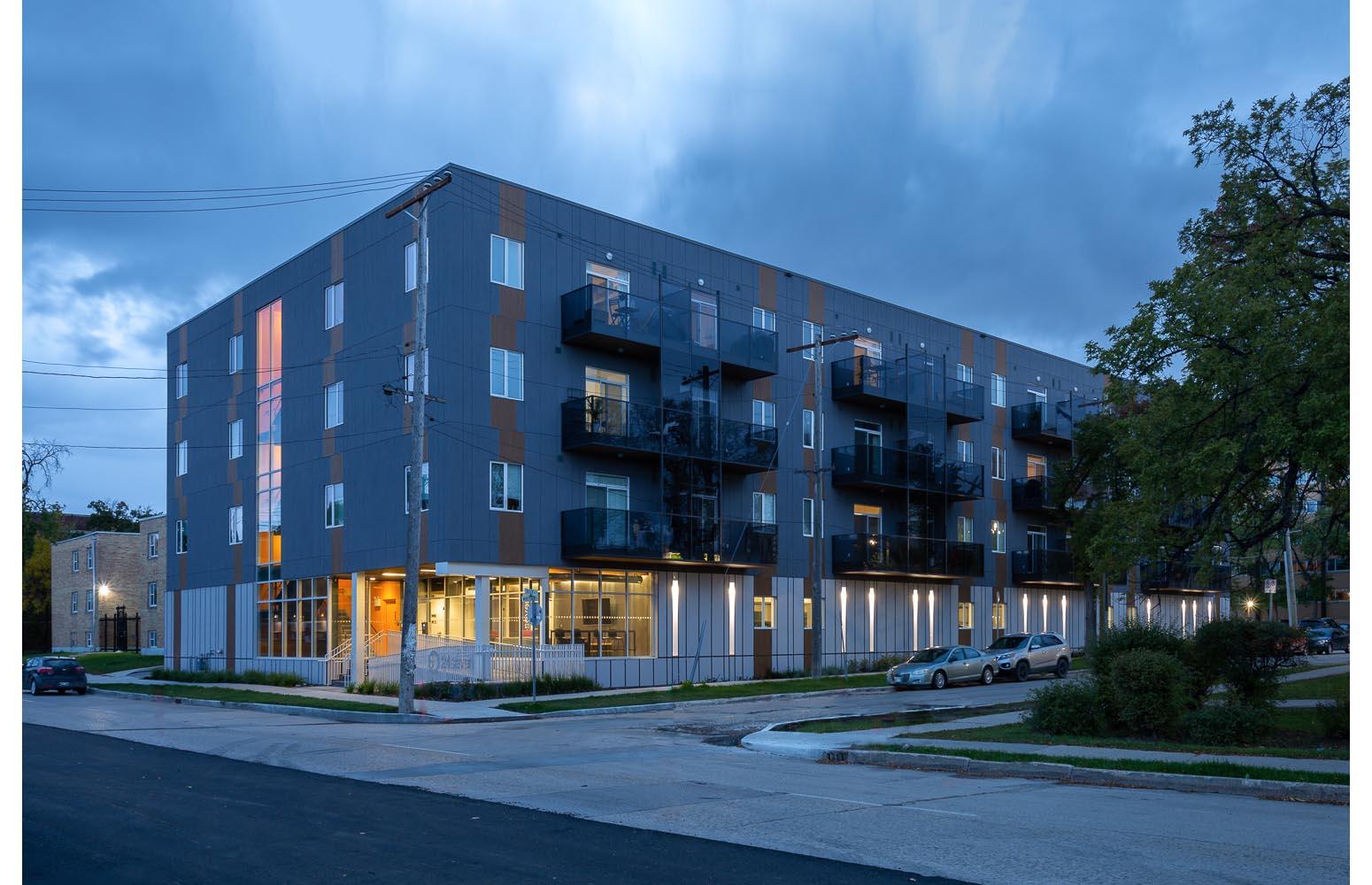 24Seven Condominium, photo of exterior at dusk / Photo:  Lindsay Reid