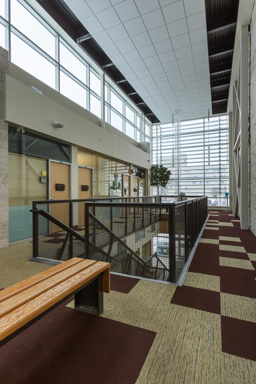 Centre de Santé Marcel A. Desautels, interior photo of atrium from second floor / Photo:  Lindsay Reid