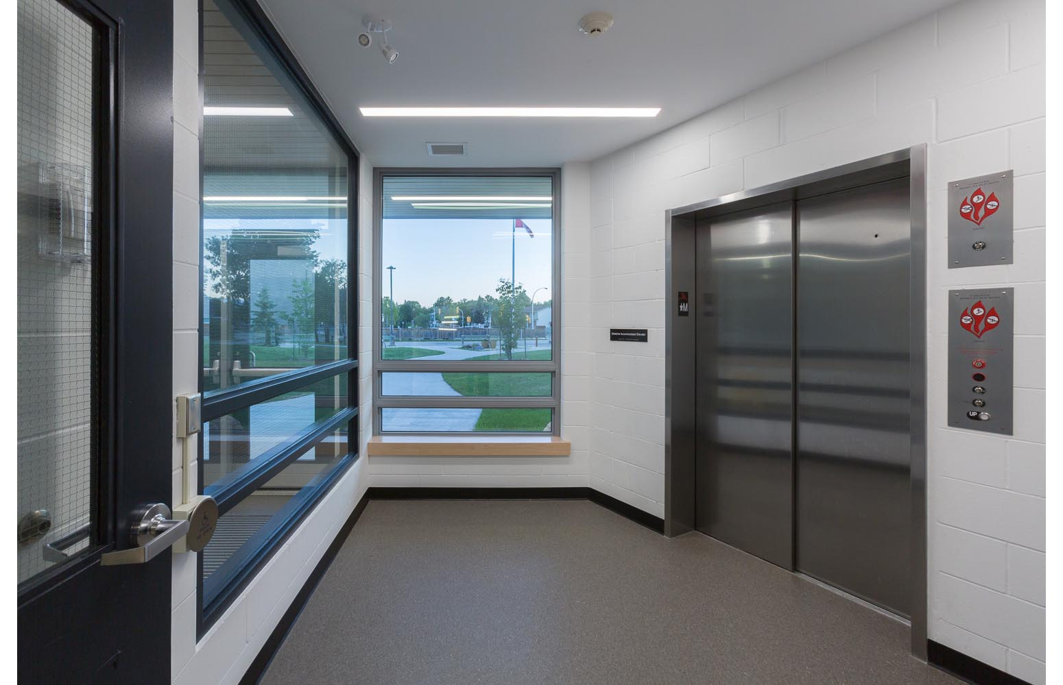 Dalhousie School Elevator Addition, interior of elevator entrance / Photo:  Lindsay Reid