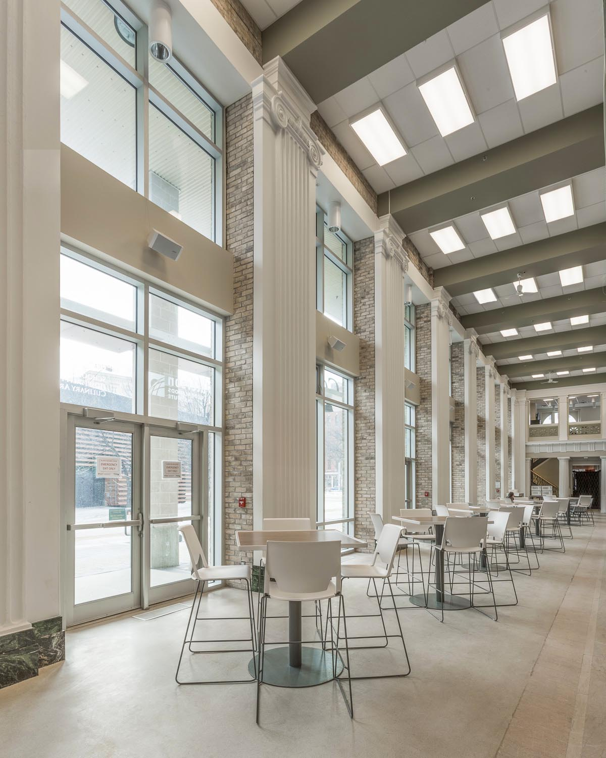 Red River College Culinary Arts & Student Housing, interior photo of atrium / Photo:  Lindsay Reid