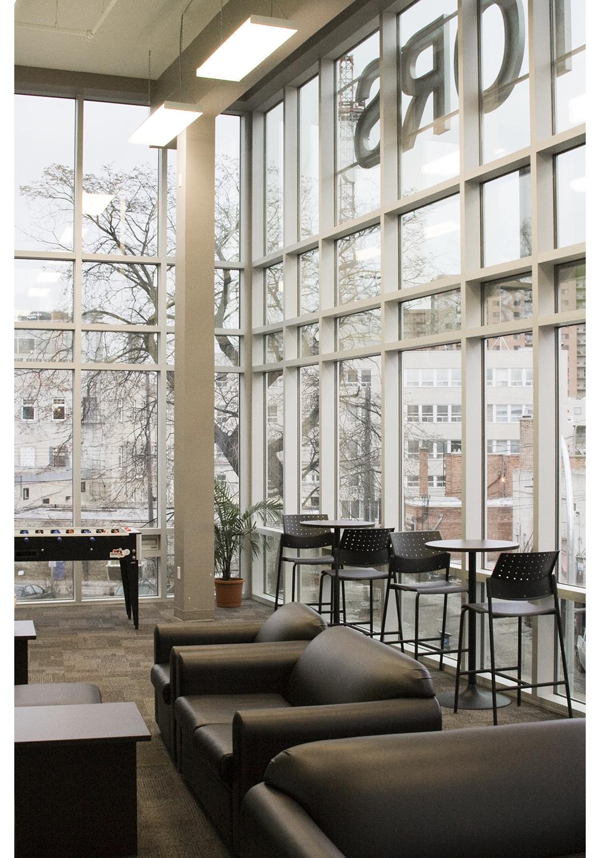 U of W Housing (McFeetor's Hall), interior photo of common area / Photo: Tracy A Wieler