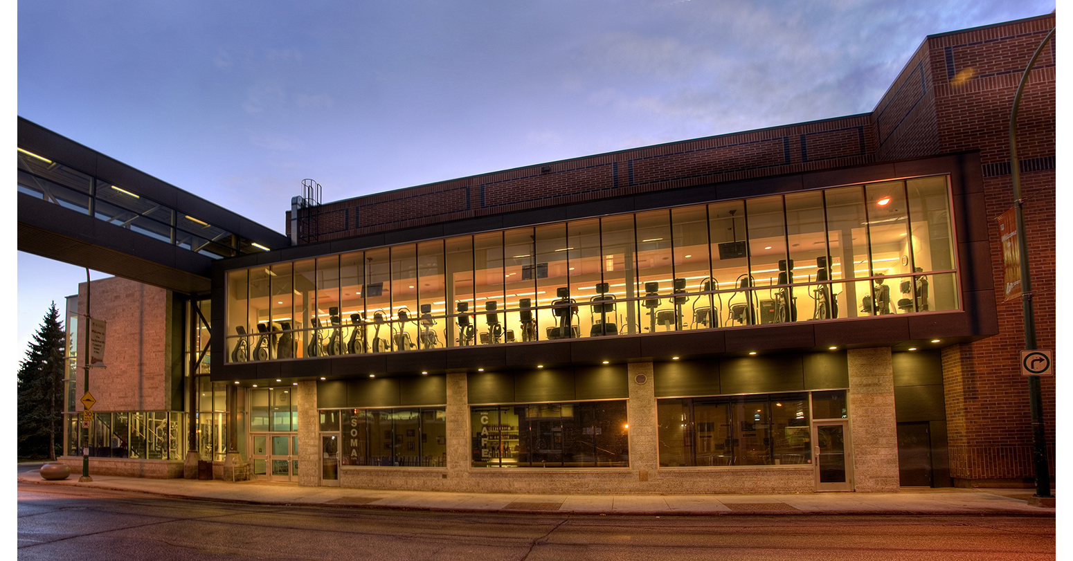 Duckworth Centre, exterior photo of building at dusk / Photo: Bryan Scott