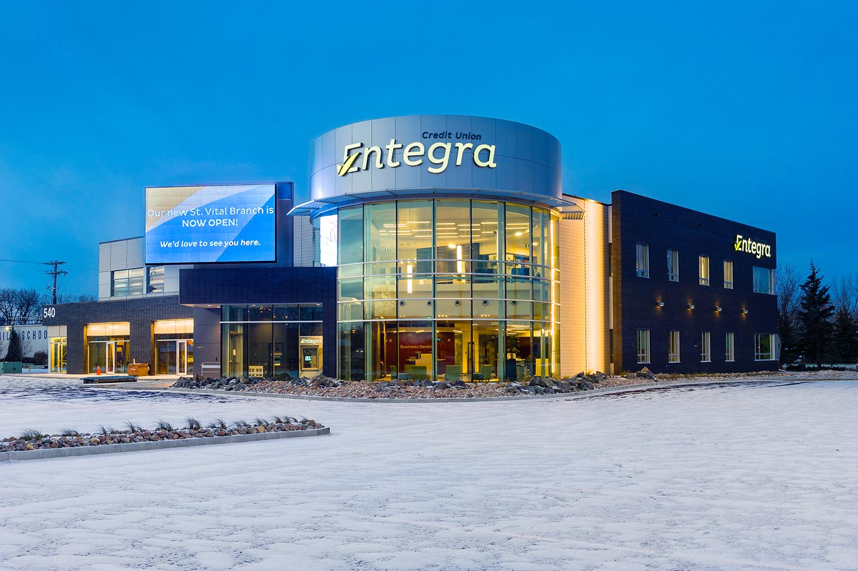 Entegra Credit Union, exterior photo of building at dusk / Photo: Joel Ross