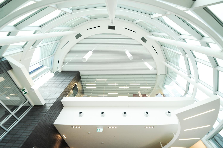Entegra Credit Union, interior detail photo of atrium / Photo: Joel Ross