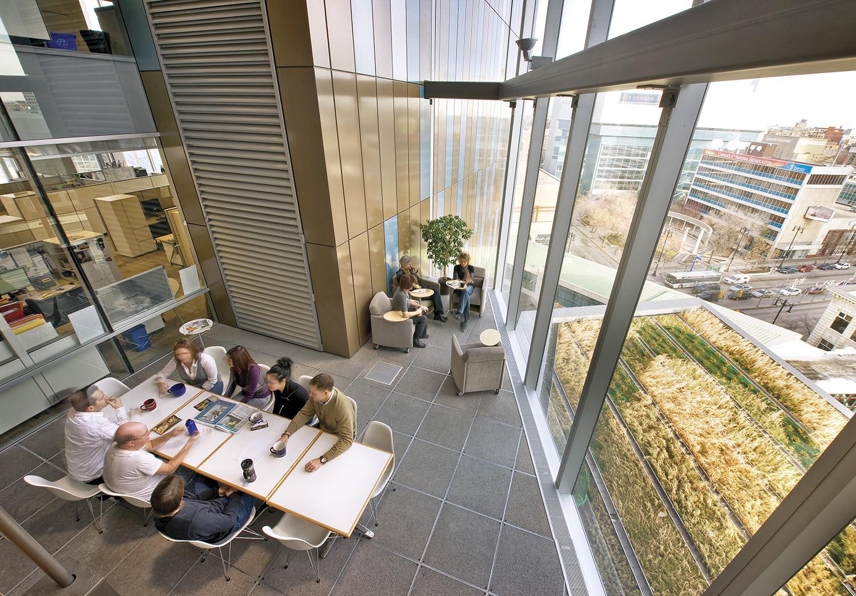 Manitoba Hydro Place, interior photo of 3-storey atrium