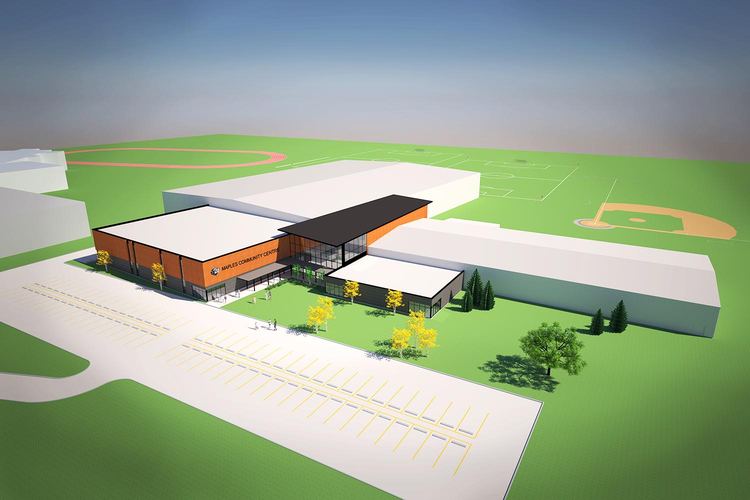 Maples Community Centre, exterior aerial rendering