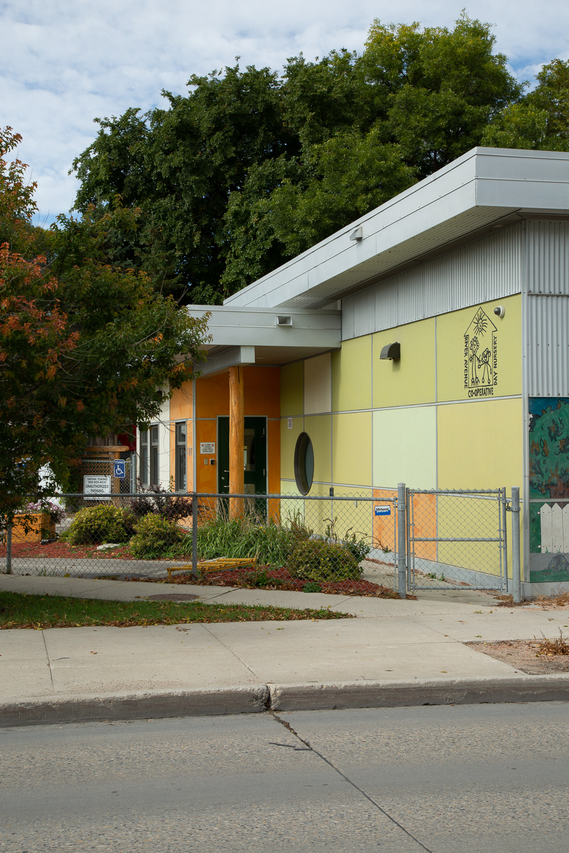 River Avenue Daycare, exterior photo of building entrance / Photo:  Lindsay Reid