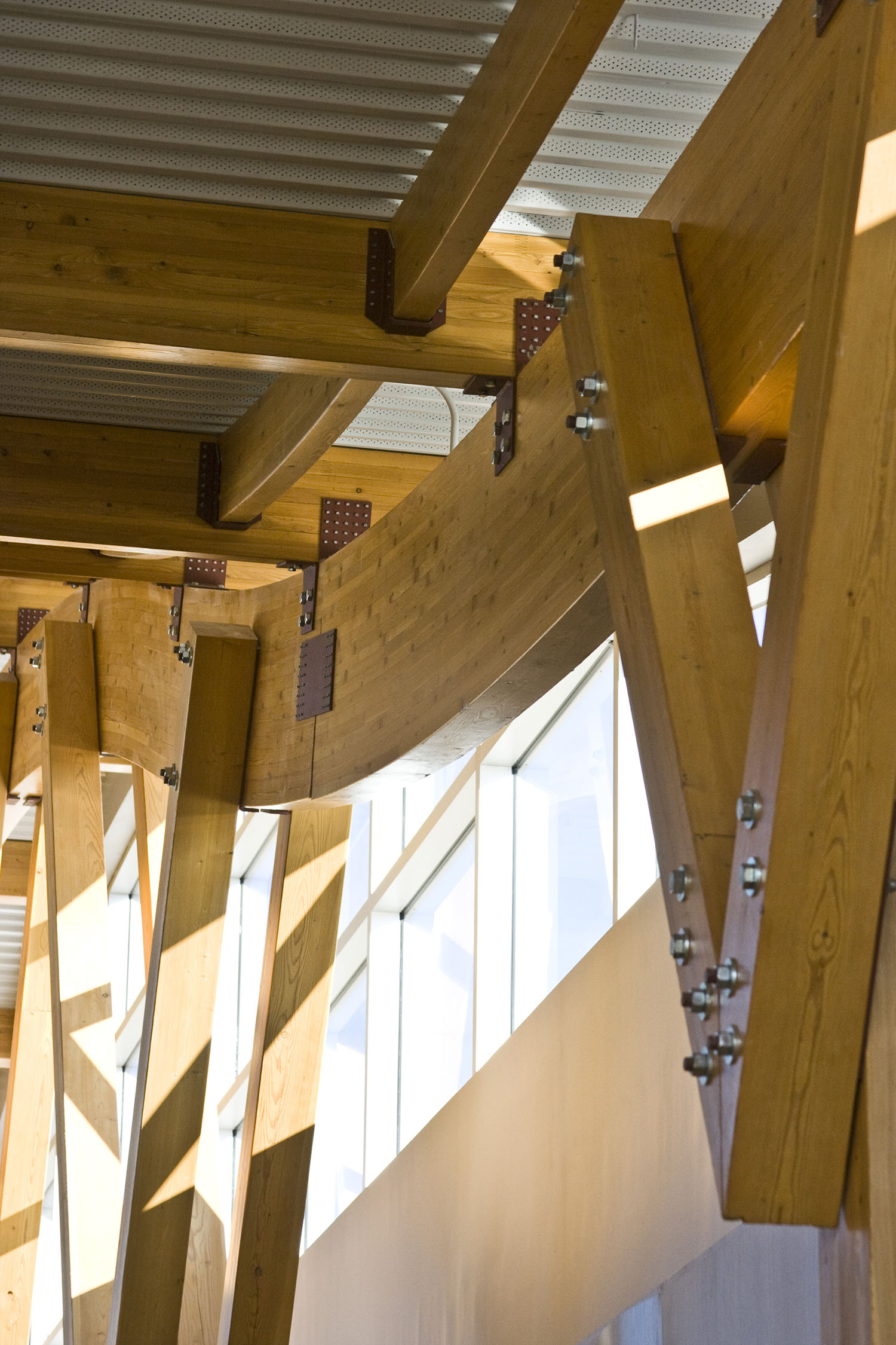 Sunova Credit Union, interior photo of building structural systems / Photo: Tracy A Wieler