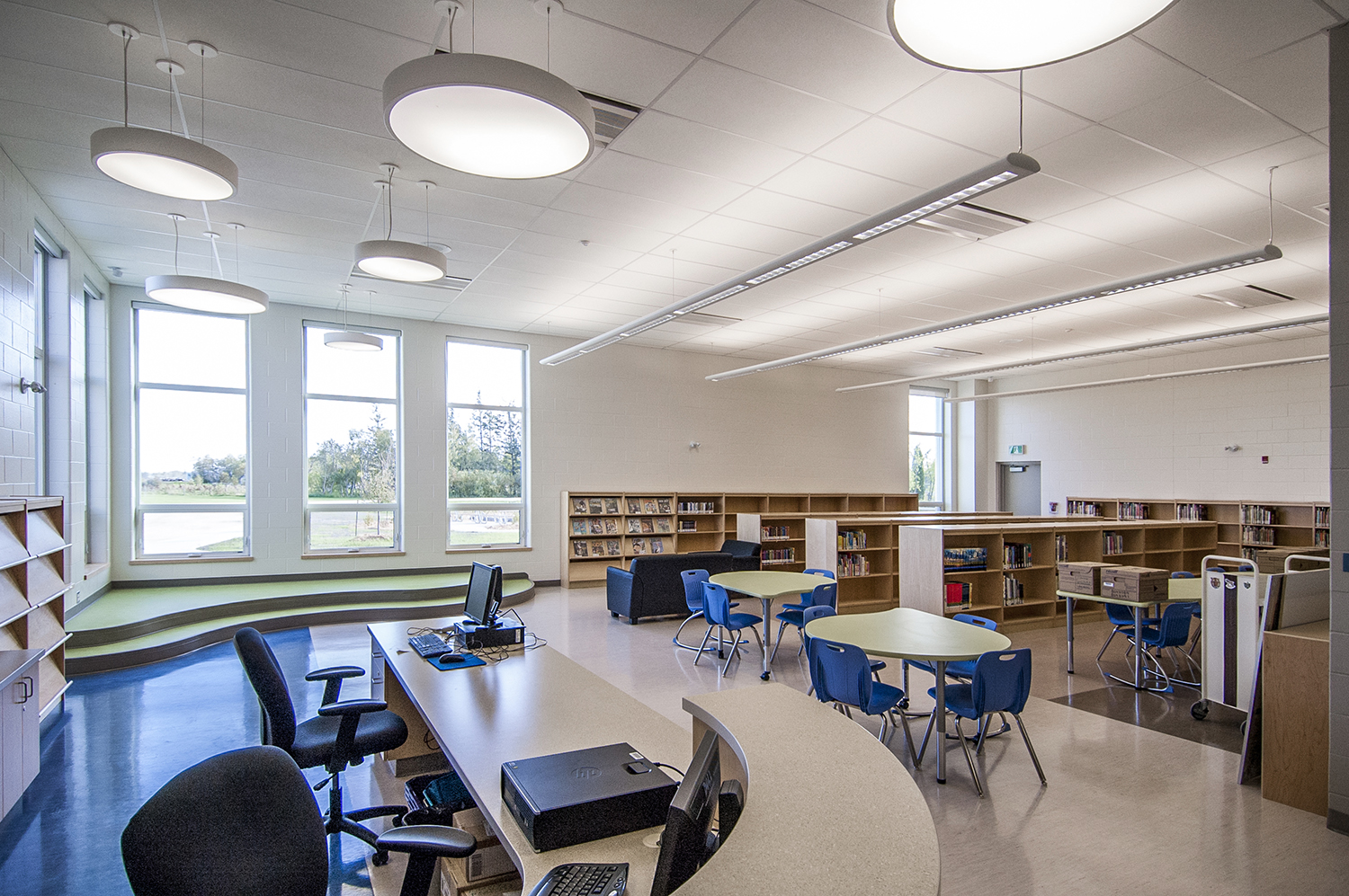Woodlands K-8 School, interior photo of library / Photo: Derrick Finch